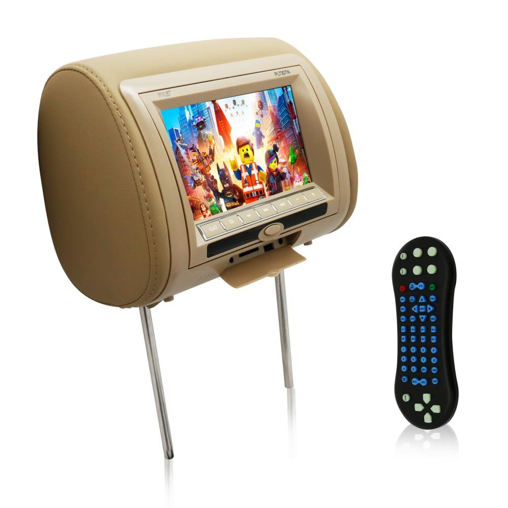 Pyle Car Video Headrest DVD Player Monitor 7-Inch Wide Screen With , USB /SD Readers, Remote Control Tan Color (PL73DTN)
