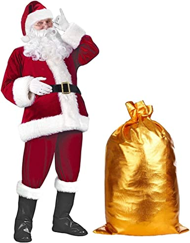 Adult Santa Claus Suit 4 Sizes Christmas Deluxe Red Plush Costume
