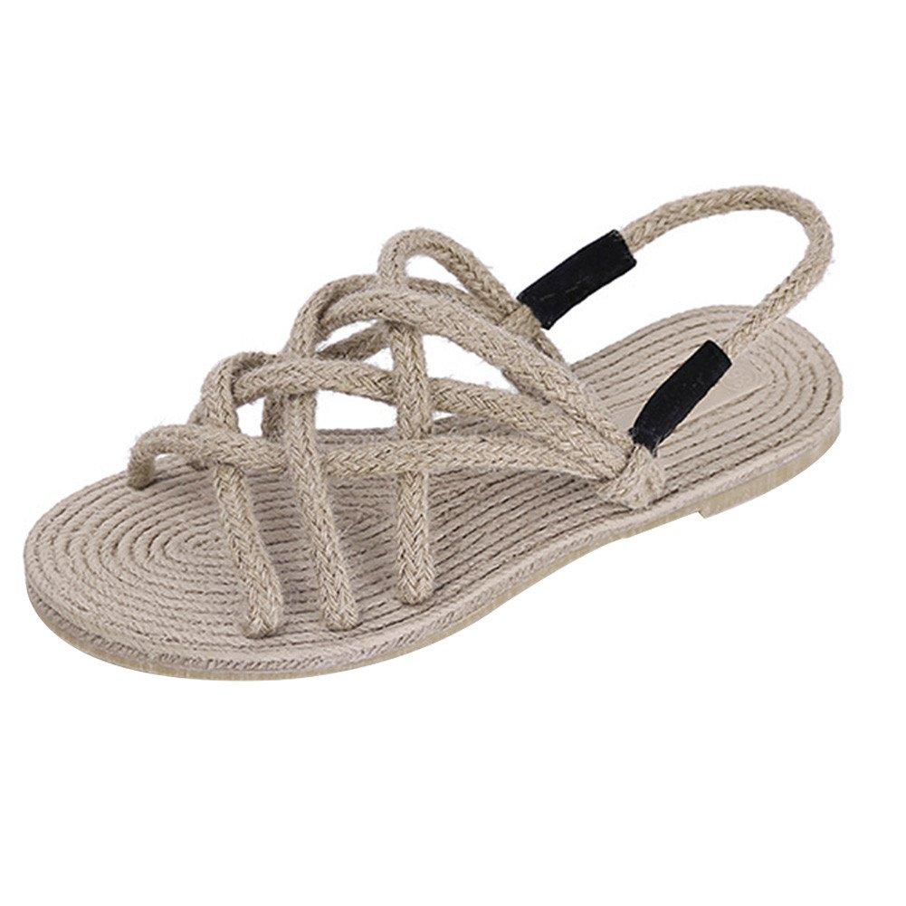 Summer Retro Hand hemp rope weave Flat Sandals Casual Vacation Beach Shoes For Women Teenagers Girls B071WPHB9L 40 M EU / 8.5 B(M) US|Apricot