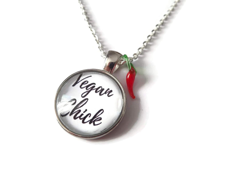 Vegan Text Stainless Steel Silver Pendant Necklace Awareness Symbol Jewellery UK