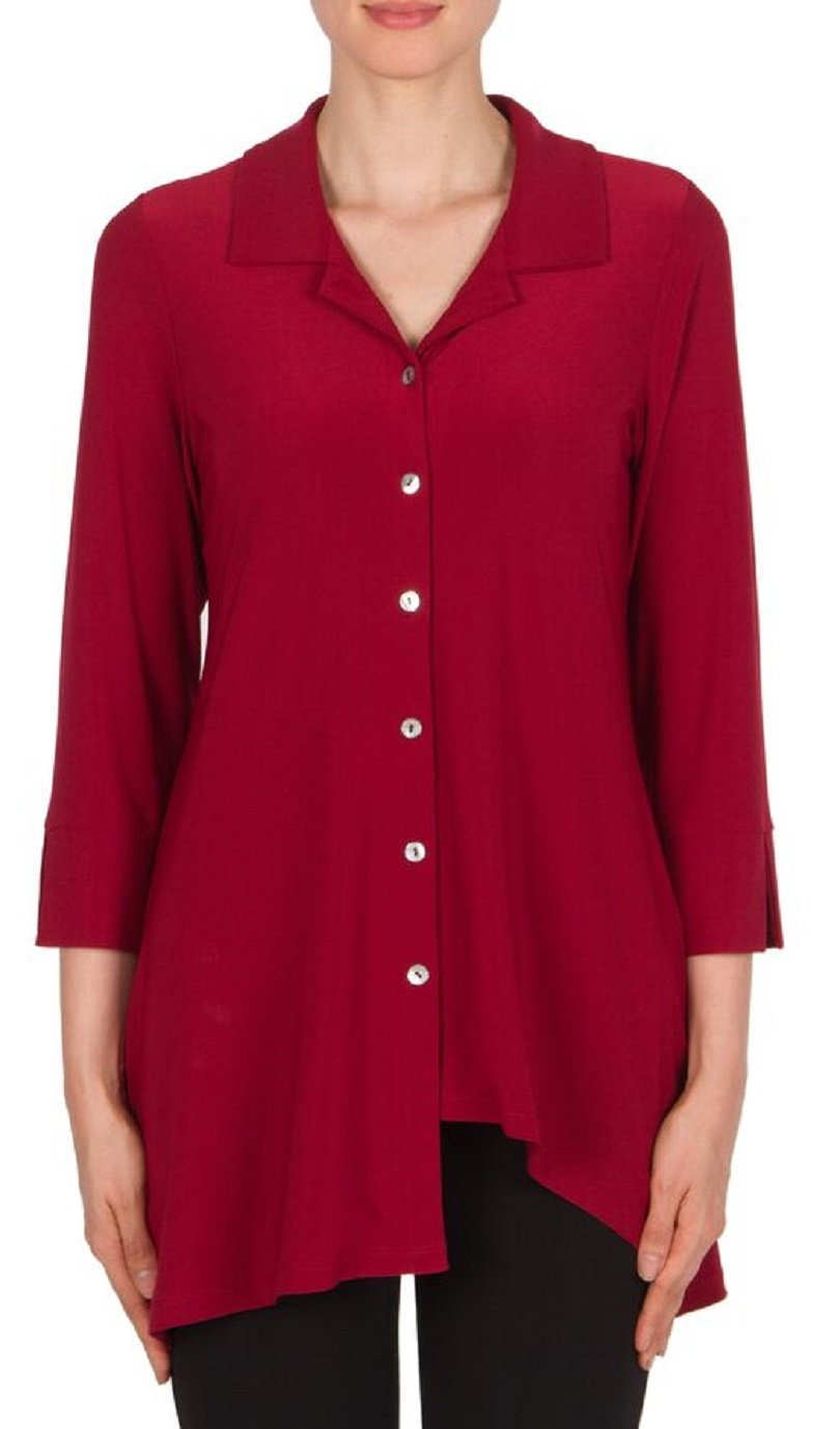 Joseph Ribkoff Burgundy Stretch Button Detail Shirt Tunic Style 174120 - Size 12