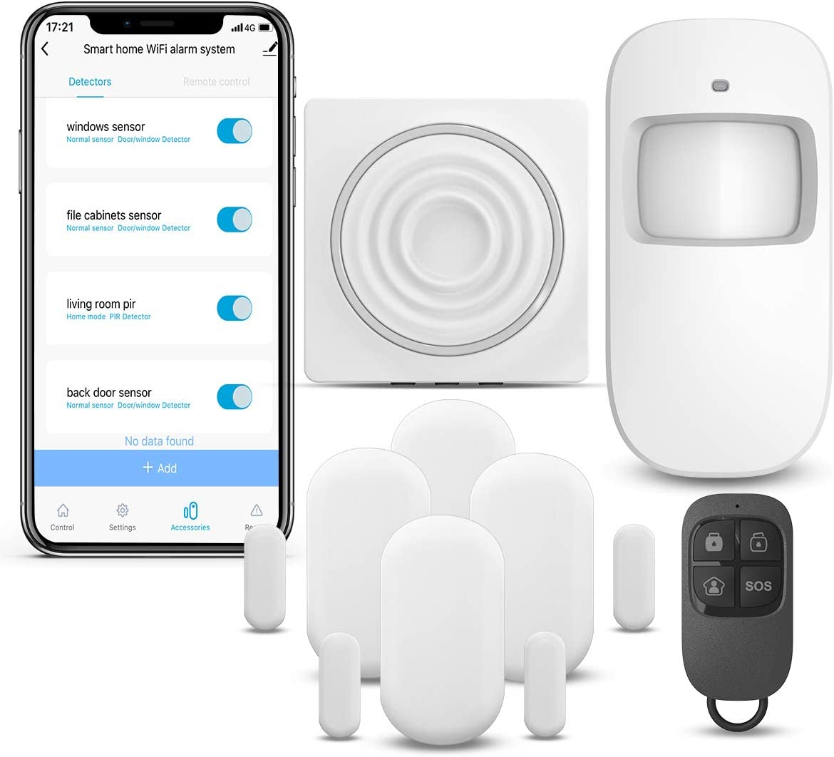 WiFi Security System WiFi Alarm System Kit Compatible with Alexa,APP Control and Message Alert Function,1 PIR Motion Sensor,1 Remote Control,4 Door Open Alarm and 1 Wi-Fi Gateway 2.4G WiFi only