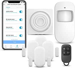 WiFi Security System WiFi Alarm System Kit Compatible with Alexa,APP Control and Message Alert Function,1 PIR Motion Sensor,1 Remote Control,4 Door Open Alarm and 1 Wi-Fi Gateway, No Monthly Fee