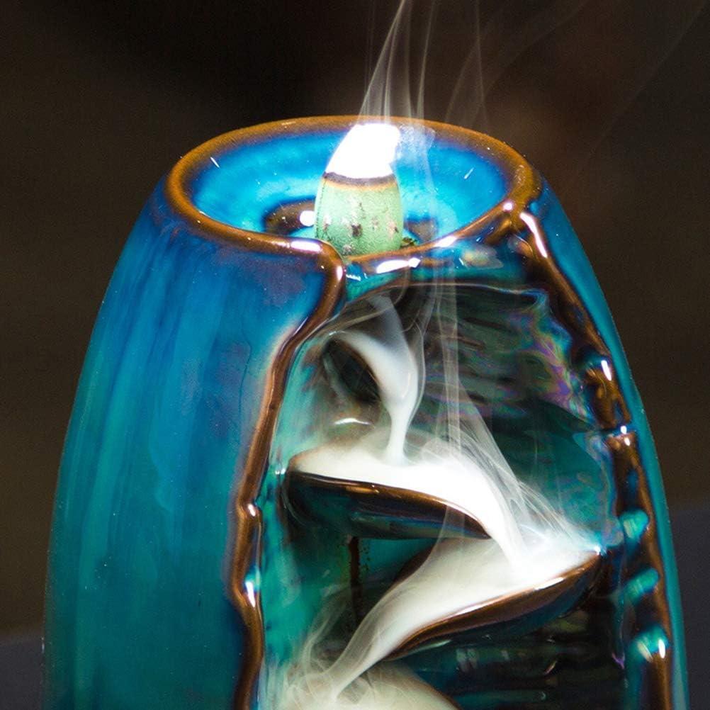 Quemador de Incienso de reflujo de cerámica para aromaterapia, Horno, aromático, para casa, Oficina, Incienso, Manualidades, Torre de Incienso con 10 Conos