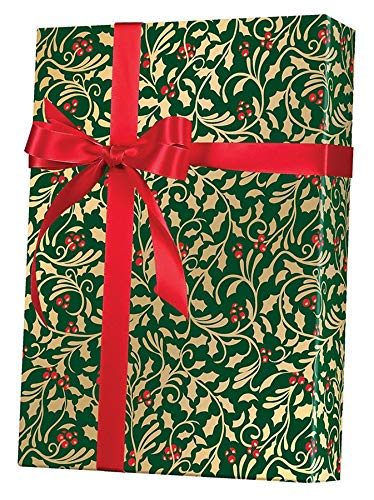 (Golden Holly Holiday Gift Wrapping Paper Roll - 24