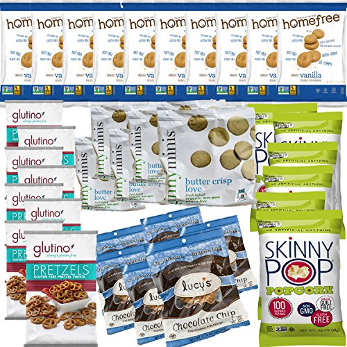 Gluten-Free Snack Pack Gift Box Assortment Bundle With Pretzels, Popcorn, and Cookies. All Certified GF. (36 Count) (Live Love And Pop Popcorn compare prices)