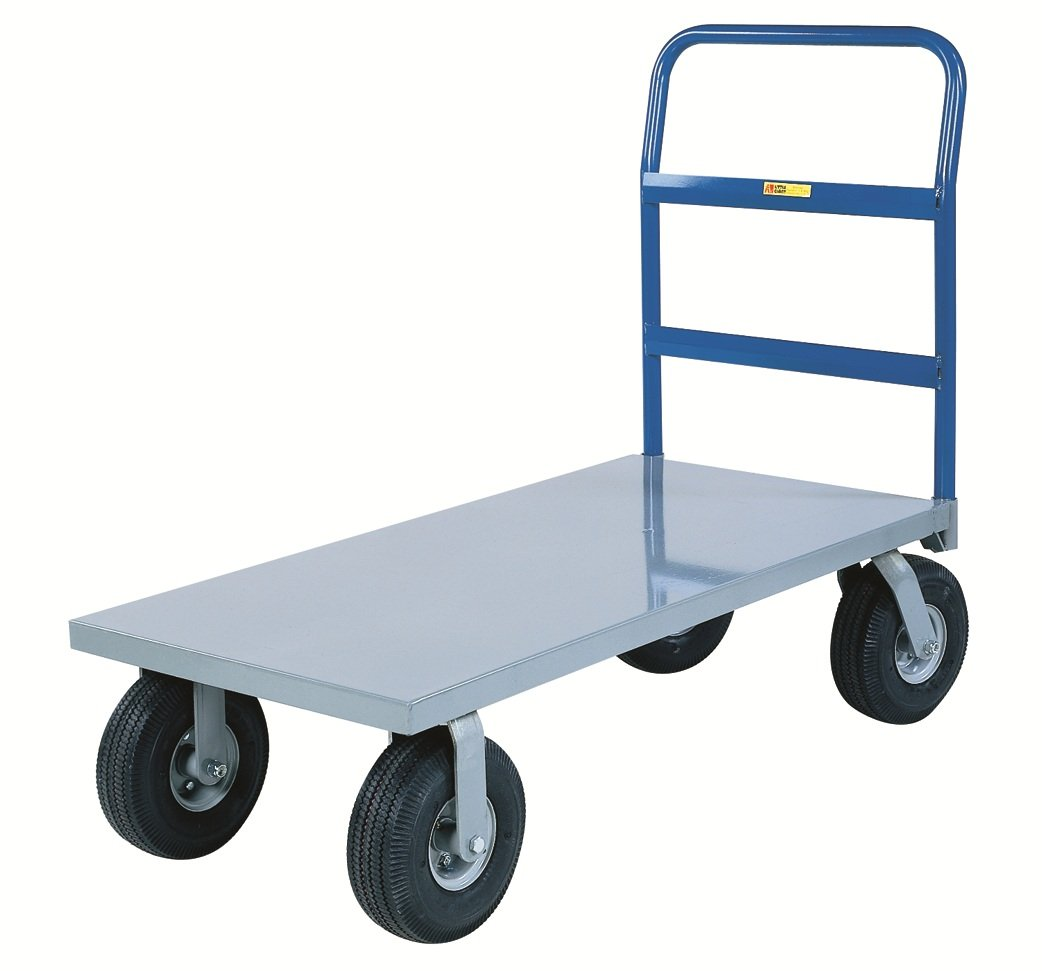 Little Giant NBB-2448-10P Steel Deck Cushion-Load Platform Truck with 10'' Pneumatic Wheels, 1500 lbs Capacity, 48'' Length x 24'' Width