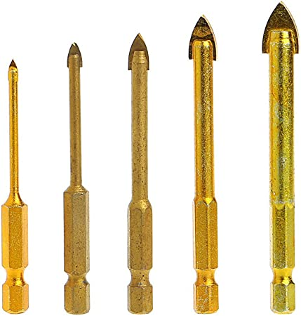 Preamer 5pcs Titanium Coated Glass Drill Bits Set 3//4//6//8//10mm with Hex Shank for Ceramic Tile Marble Mirror Glass