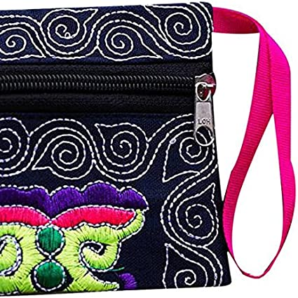 Shawin Small Wallets For Women-Ethnic Embroidered Vintage Wristlet Clutch Bag Purse Wallet Black