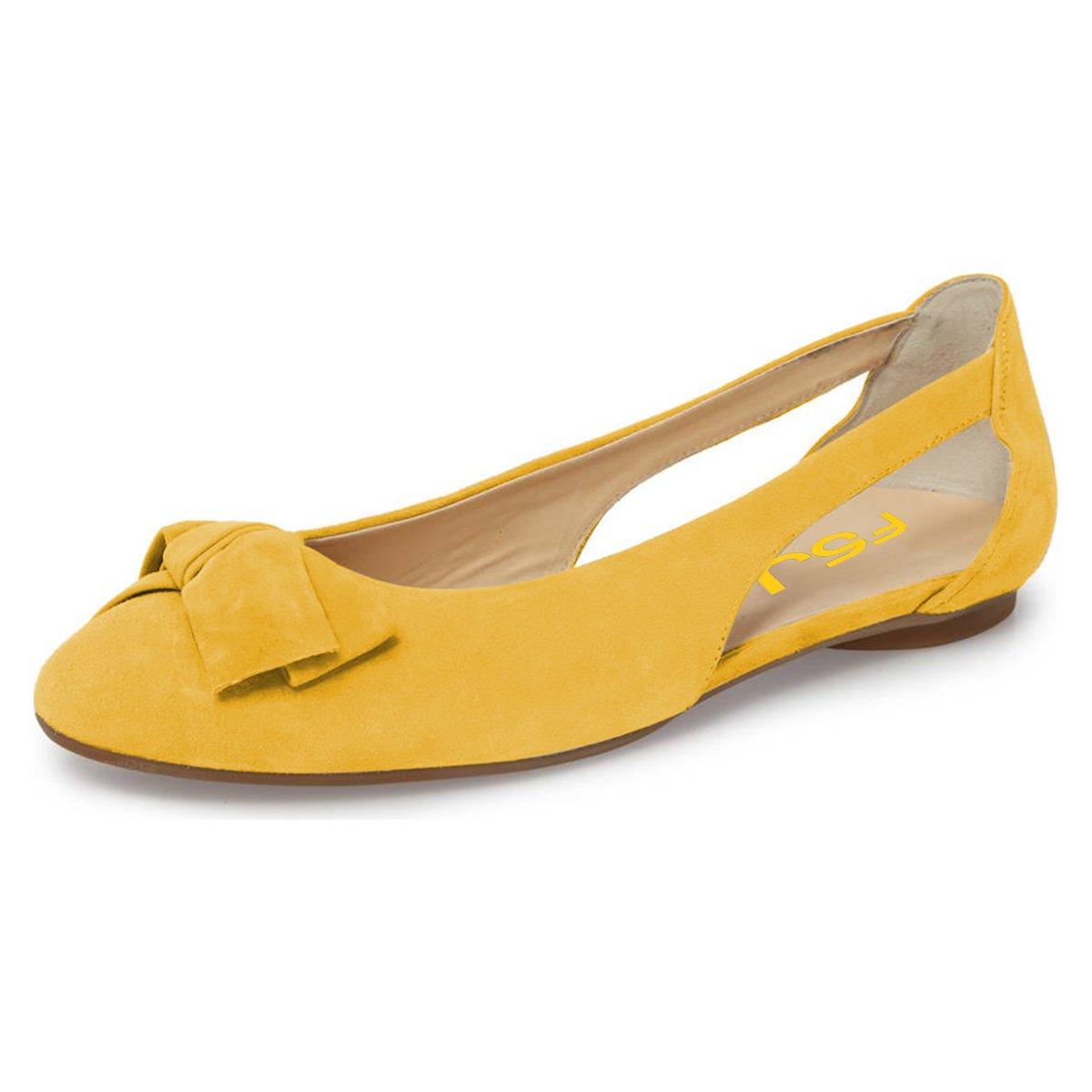 FSJ Women Cute Round Toe Ballet Flats Slip On Low Heels Pumps Bowknot Cutout Comfy Shoes Size 4-15 US
