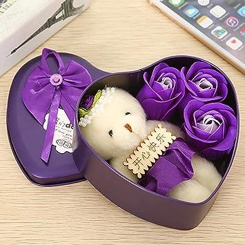 Sliwei Jabón de flor rosa con caja en forma de corazón y lindo oso, el mejor regalo para el cumpleaños de la novia de San Valentín: Amazon.es: Belleza