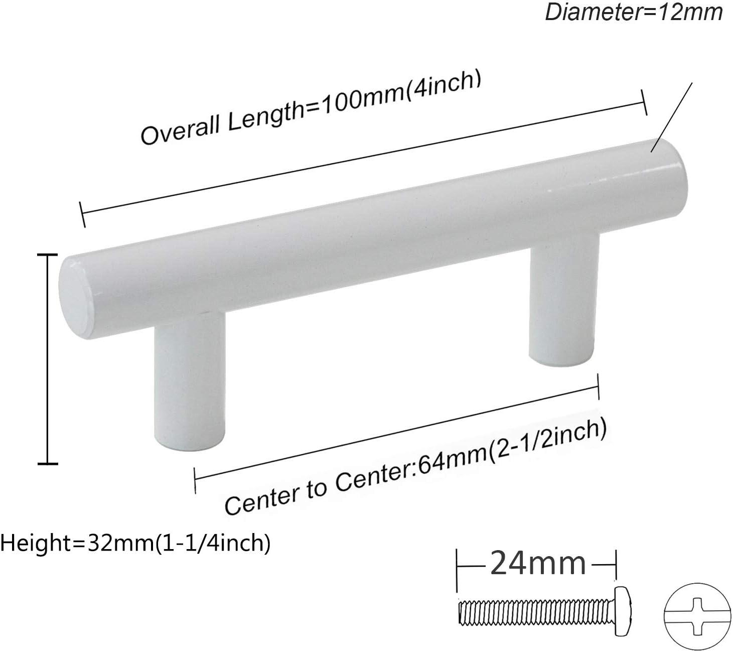 Probrico acero inoxidable 50 mm, 64 mm, 76 mm, 96 mm, 128 mm, 160 mm, 192 mm, 224 mm, 256 mm color blanco 9 tama/ños Pomos para puerta de armario de cocina