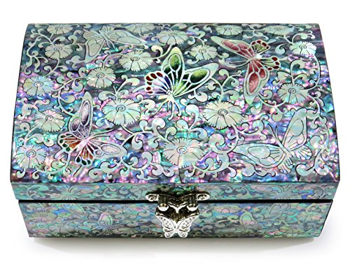 Mother Of Pearl Butterfly Inlay - Jewelry Trinket Box Wood Mother of Pearl Inlay Mirror Lid Pink Floral Butterfly Design