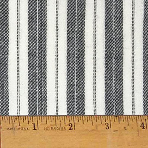 Mountain Lodge Gray Ticking Stripe Cotton Homespun Plaid Fabric by JCS - Sold by The Yard