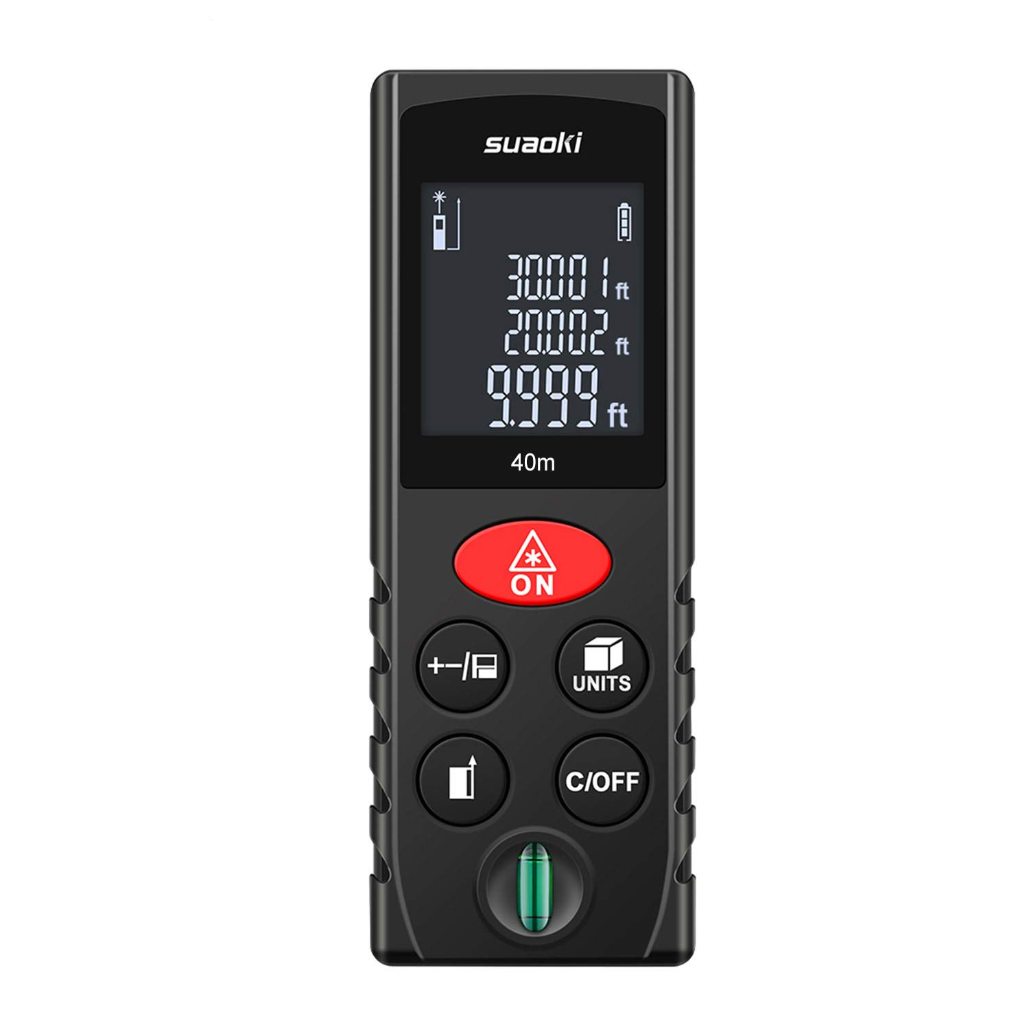 Suaoki Laser Distance Meter D40 40m Digital Measure with Bubble Level Pythagorean Mode Area Volume Calculation Memory Function with Batteries