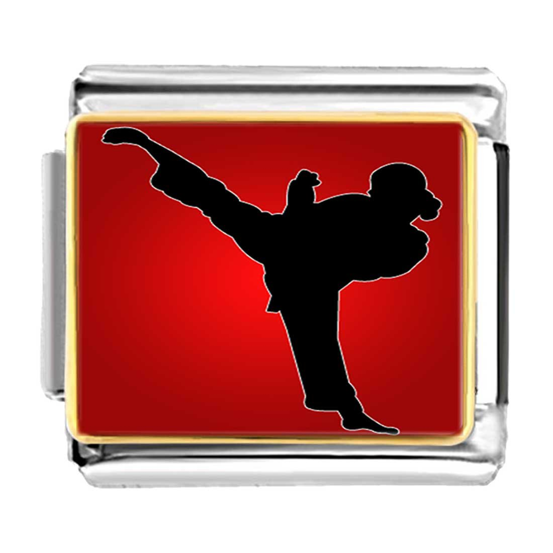 Gold Plated Olympics female taekwondo roundhouse kick to right Bracelet Link Photo Italian Charm