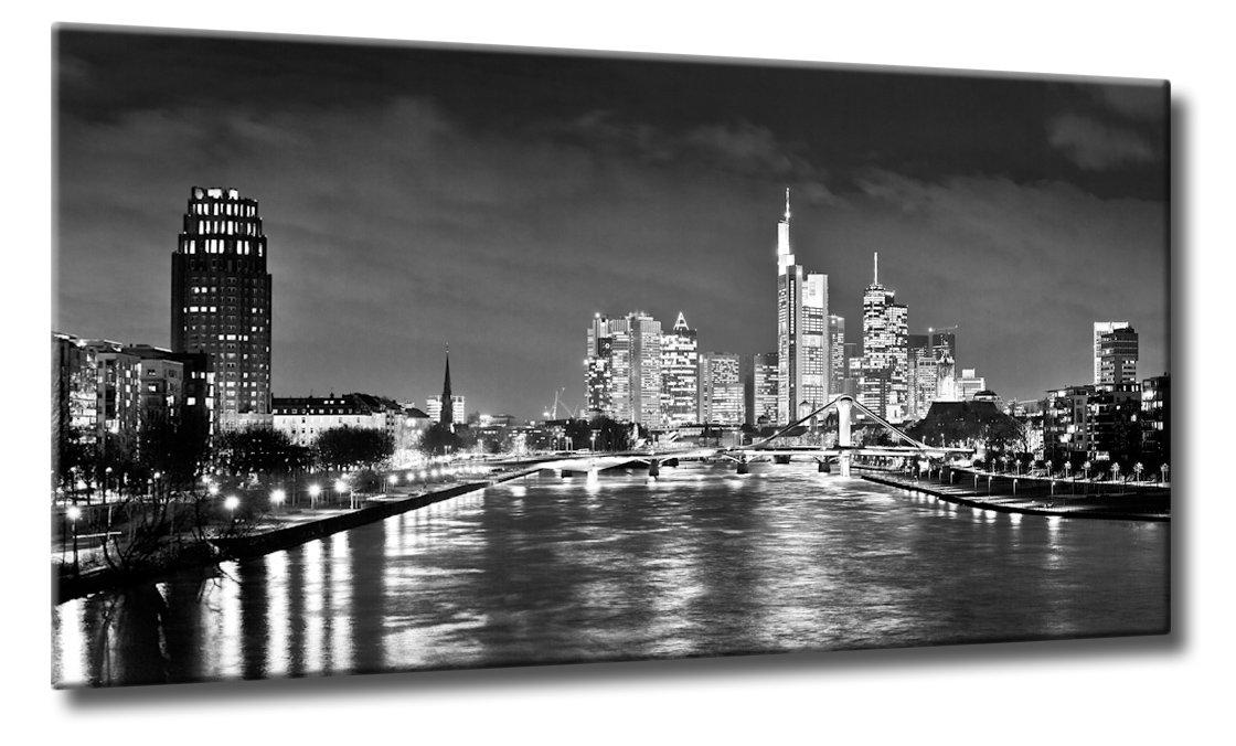 Kunst Bild Frankfurt Nacht Skyline Schwarzweiß   Die Frankfurter Skyline bei Nacht   Farbe  schwarzweiss   Rubrik  frankfurt + Städte