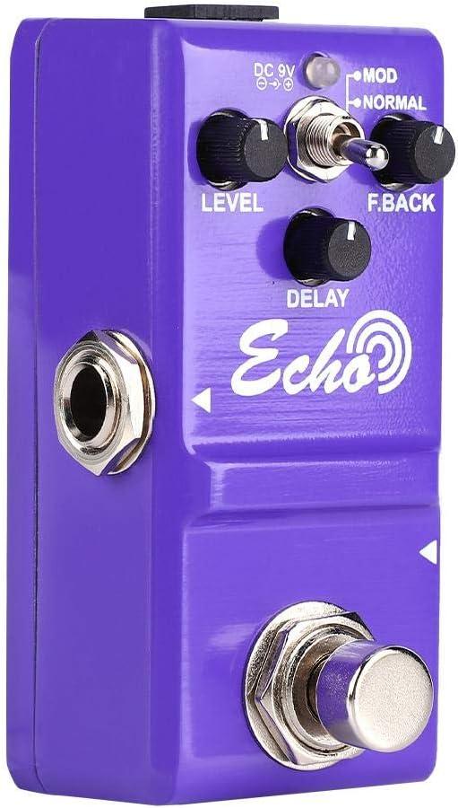 Dilwe Mini Pedal de Efecto de Guitarra, Portatil Mini Metal Shell Analogico Pedal de Efecto de Guitarra Echo con True Bypass Instrumento Accesorio