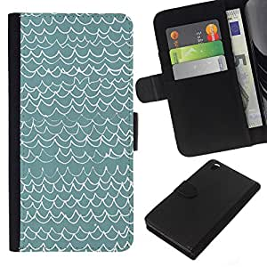 Planetar® Modelo colorido cuero carpeta tirón caso cubierta piel Holster Funda protección Para HTC DESIRE 816 ( Waves Pattern Art Blue White Modern )