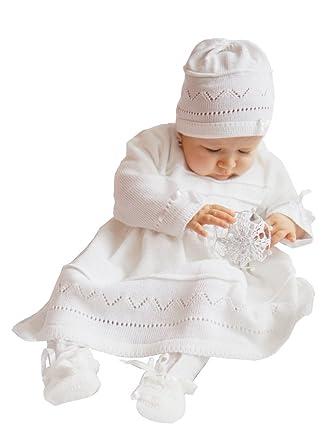Boutique-Magique Robe de baptême bébé + Bonnet en Crochet Blanc  Amazon.fr   Vêtements et accessoires 0b0ee8b79b7