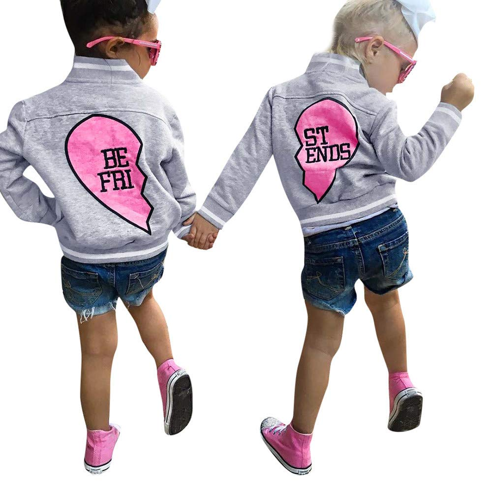 Outtop(TM) Baby Boys Girls Tops Toddler Children Long Sleeved Heart Type Letter Print Baseball Sweatsuit Coat Outwear