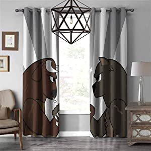 Cartoon Decor Collection Grommet blackout curtains Image of Bull Bear Preparing to Fight Striped Background Wild Competition Clip Art Darkening Thermal Insulated Blackout Grommet Curtain W84 X L84 inc