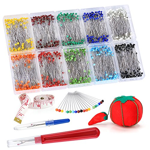 - Pllieay 1000 Pieces Sewing Pins Multicolor Glass Ball Head Pin Straight Quilting Pinsincluding Sewing Seam Ripper and Soft Tape Measure for Dressmaking Jewelry Components Flower Decoration with Trans