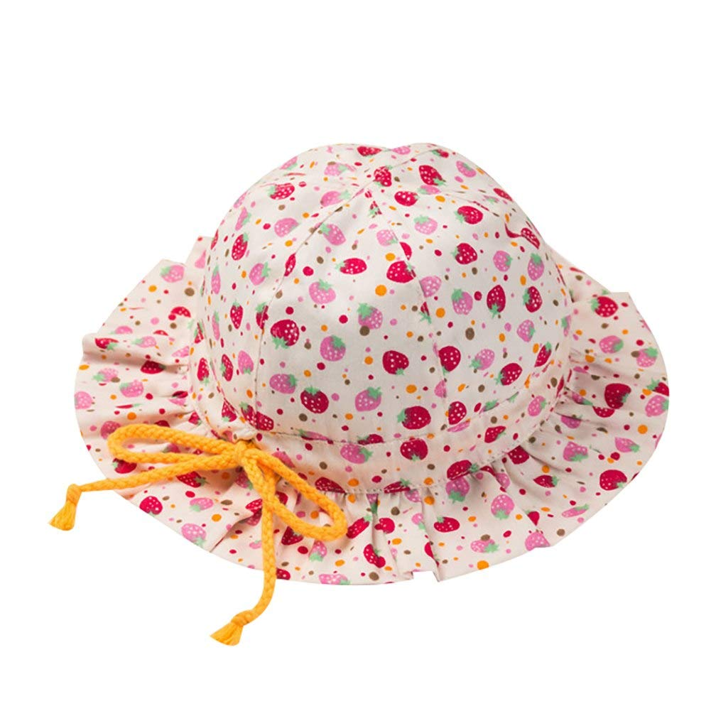 Baby Girls Floral Sun Hat Toddler Kids UPF 50 Wide Brim Bucket Sun Protection Cap with Adjustable Bowknot Strap