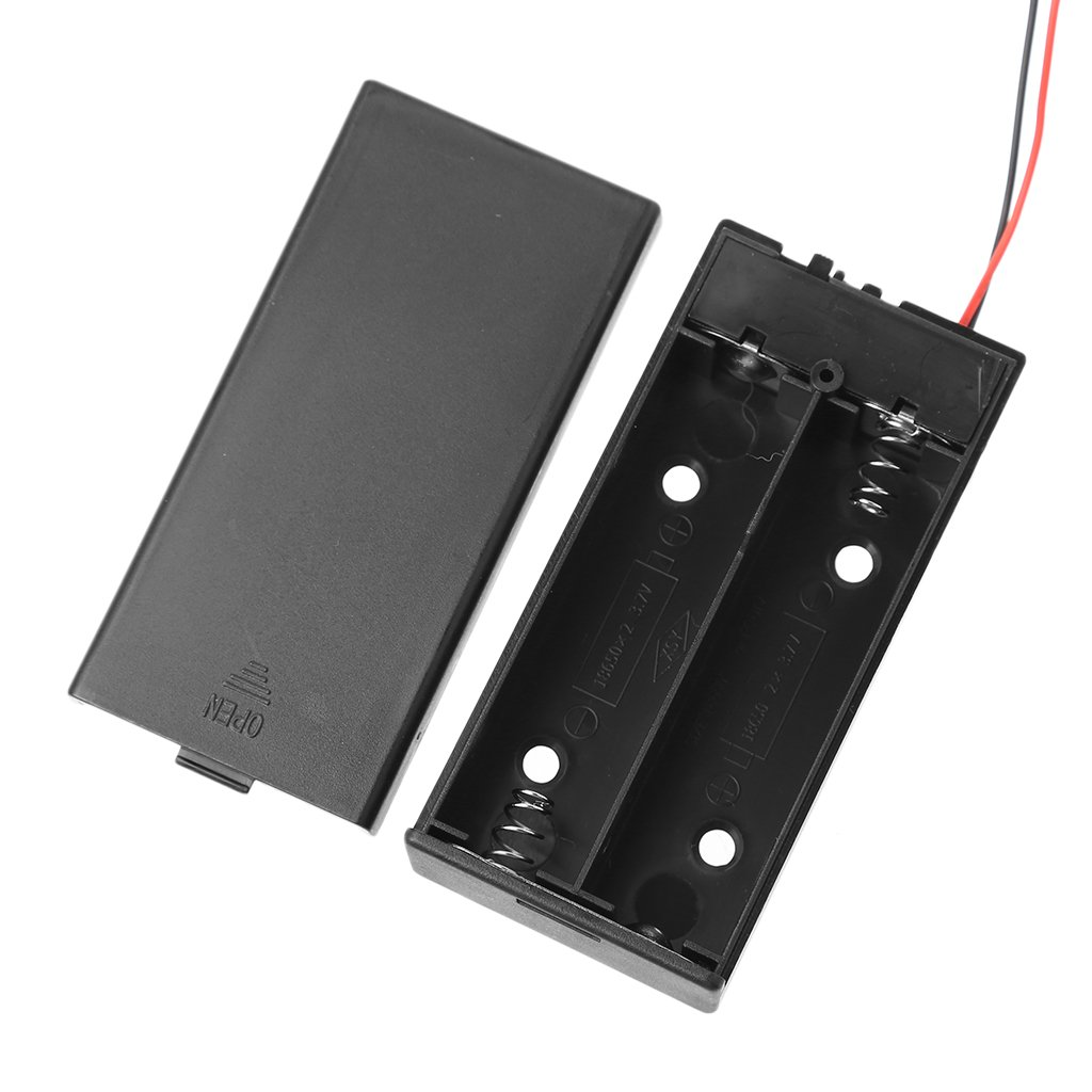GUOQIAO✯3.7V 2x 18650 Battery Holder Box Storage Case Container With Cable ON//OFF Switch