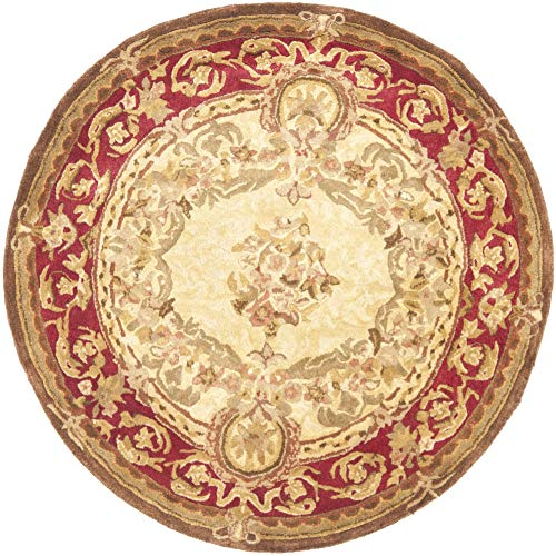 Safavieh Handmade Aubusson Maisse Light Gold/Red Wool Rug - 4' X 4' Round