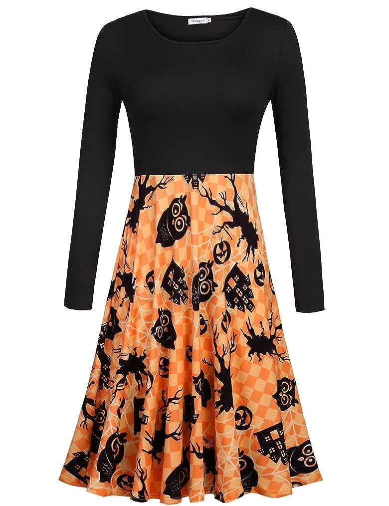 Naggoo Women's Long Sleeve Crew Neck Casual Flared Printed Halloween Pumpkin Dress FQ0000001298