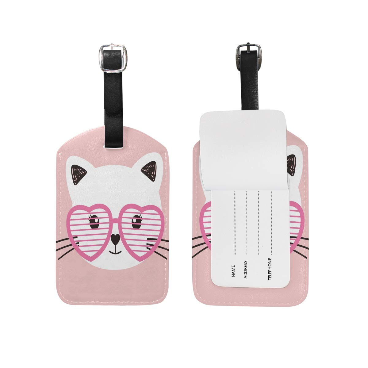 Glasses Pink Cat Luggage Tags Travel Leather Strap Baggage Label Tag (2 Pcs)