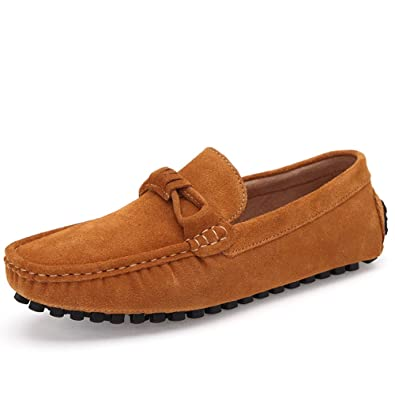 Mens Classic Suede Loafers Moccasins Casual Slip On Driving Shoes Yellow 45