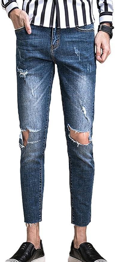 Xinwcang Skinny Rotos Hombre Vaqueros Casual Slim Fit Tejanos Denim Pantalones Elastizado Rectos Jeans Rasgados Amazon Es Ropa Y Accesorios