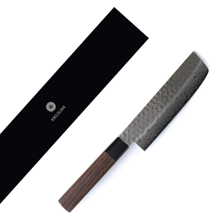Kikusumi KATURA 6.5'' Nakiri Knife 45 Layer Damascus Steel AUS10 + Octagonal Premium Wood Handle - Made in Japan (Rosewood, 6.5'' / 16.5 cm)