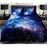 Galaxy Quilt Cover Galaxy Duvet Cover Galaxy Sheets Space Sheets Outer Space Bedding Set Bedspread with 2 Matching Pillow Covers(Queen)