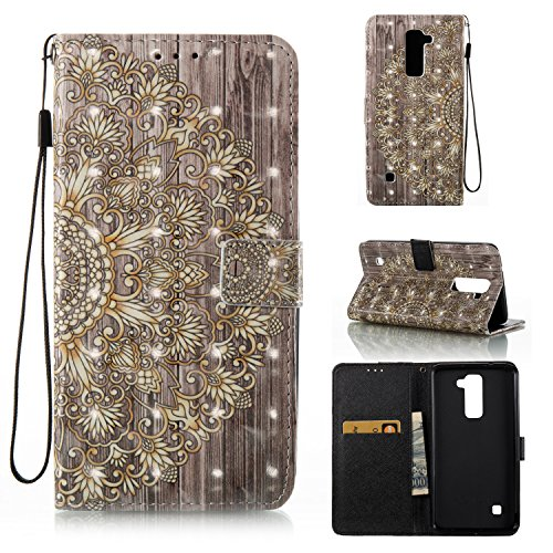LG Stylo 2 Case, LG Stylo 2 Plus Case, Ranyi [3D Painted Wallet] [Variety Painted Patten] [Card Holder] Shiny Leather Flip Wallet Kickstand Case for LG Stylo 2 / LG Stylo 2 Plus (gold flower)
