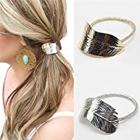 2Pcs Set Fashion Women Lady Leaf Hair Band Rope Headband Elastic Ponytail Holder
