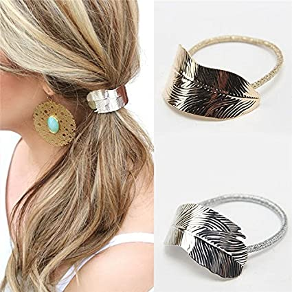 ERAWAN 2 x Fashion Women Lady Leaf Hair Band Rope Headband Elastic Ponytail Holder EW sakcharn