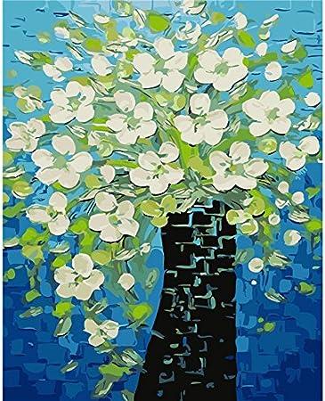 TLYFD Decoración de Pared sin Marco Cuadros Pintura por números Pintado a Mano sobre Lienzo Cuadros de decoración Flor Pintura al óleo Abstracta Moderna 16x20 Pulgadas