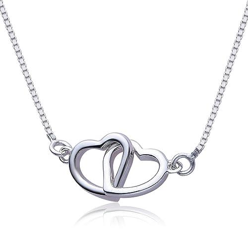 VIKI LYNN Damen Kette double Herz Kette Sterling Silber 925 Halskette mit 2 verschlungene Herzen Anh...