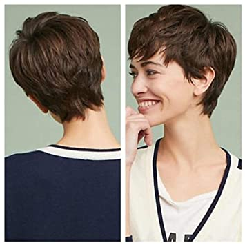 Short Pixie Cut Wigs With Bangs Cute Brown