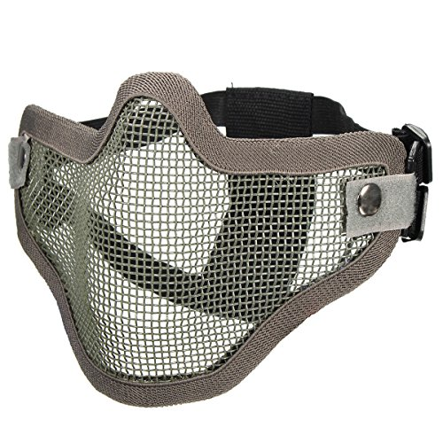Cinco De Mayo Face Paint (MITUHAKI Tactical Security Protect Hunting Metal Wire Half Face Mask Mask Paintball - (Grey)1 x Protect Mask, 5 color for option - Safety & Protective Gear)