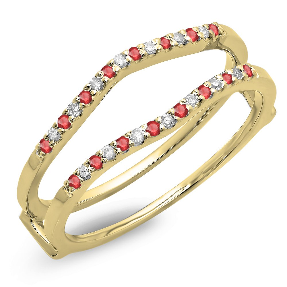 Dazzlingrock Collection 14K Round Ruby Ladies Anniversary Wedding Enhancer Guard Double Ring, Yellow Gold, Size 7 by Dazzlingrock Collection