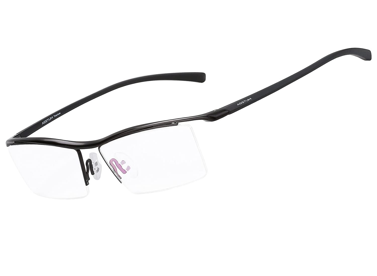 f1d5352f934 Amazon.com  Agstum Pure Titanium Half Rimless Business Glasses Frame  Optical Eyeglasses Clear Lens (Black)  Clothing