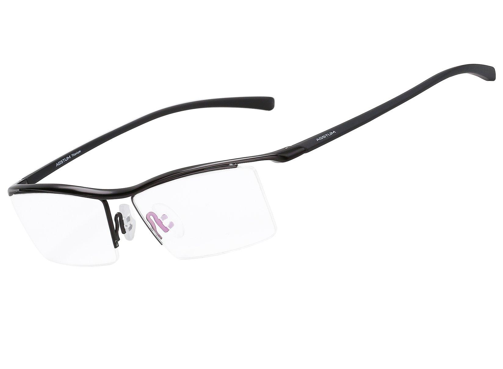 Agstum Pure Titanium Half Rimless Business Glasses Frame Optical Eyeglasses Clear Lens (Black) by Agstum