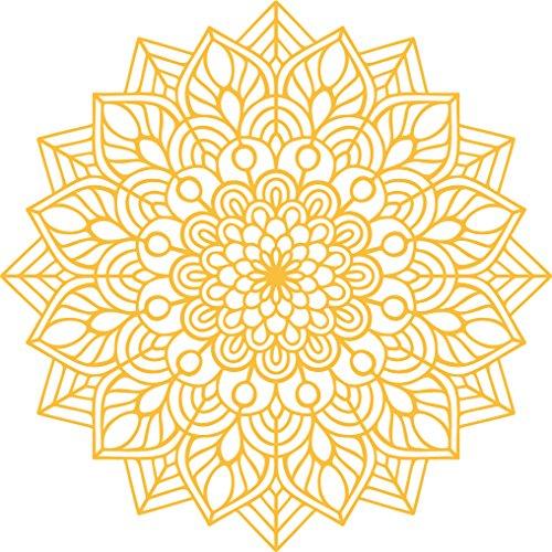 "Vinyl Wall Art Decal - Mandala Figure - 23"" x 23"" - Adhesive Vinyl Sticker Decals - Home Apartment Workplace Decor - Yoga Studio Namaste Meditation Mandala Bohemian Flower (23"" x 23"", Yellow)"