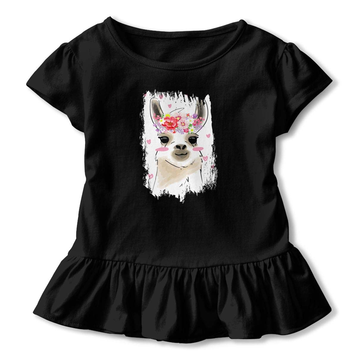 Clarissa Bertha Bahama Llama Flower Toddler Baby Girls Short Sleeve Ruffle T-Shirt