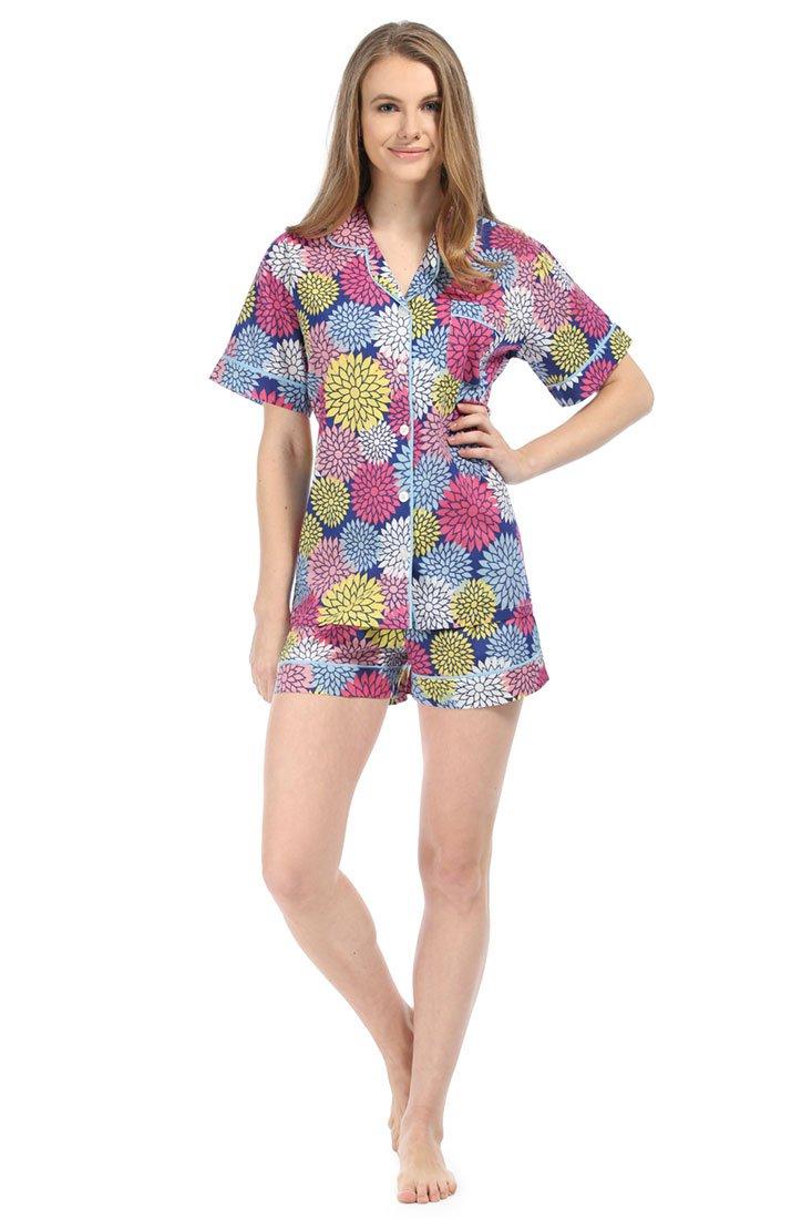 Malabar Bay Women's Floral Pop Summer Cotton Pajama Set Small Navy