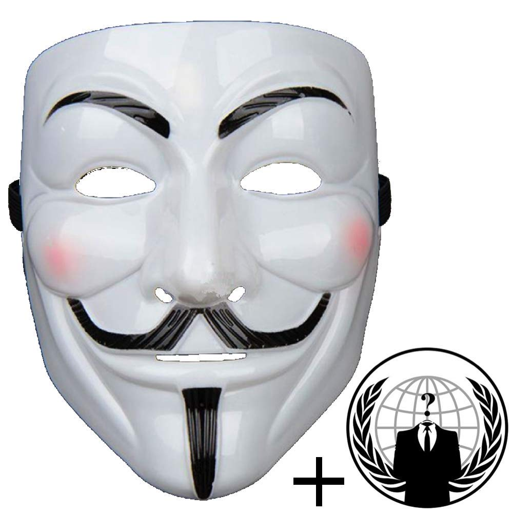 Amazon com jessters anonymous mask plus sticker guy fawkes v for vendetta white hacker mask bundled with sticker toys games